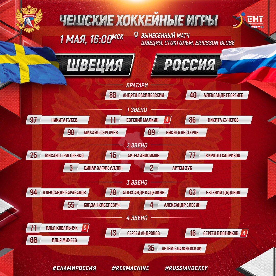 Объявлен состав сборной России на матч со Швецией